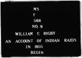 An Account of Indian Raids in 1855 William F. Rigby, Undated;