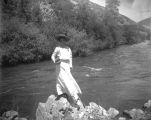 Life in the West-Woman on River Bank